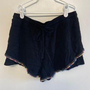 Black Linen Shorts with Bead Trim